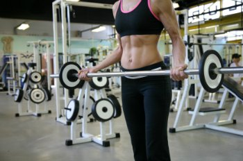 woman dumbbells